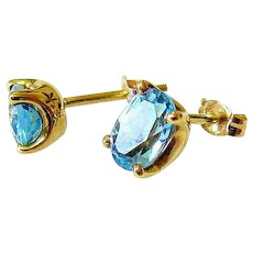 18K Yellow Gold Oval Sky Blue Topaz Post and Clutch Earrings