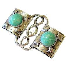 Arts and Crafts Jugendstil 835 Silver Amazonite Brooch