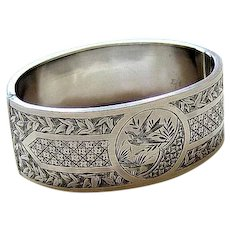 Victorian Aesthetic Movement Sterling Chased Etched Bangle Bracelet
