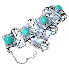 Arts and Crafts 835 Silver Amazonite Bracelet Signed