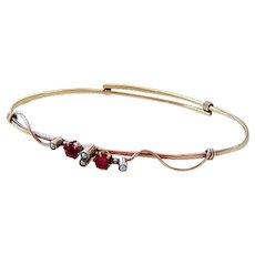 Victorian 9CT Seed Pearl Rose Cut Garnet Paste Bangle Bracelet