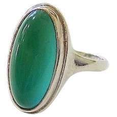Art Deco Cabochon Chrysoprase Sterling Silver Ring