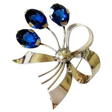 Large Sterling Silver Sapphire Blue Crystal Figural Brooch