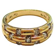 Diamond 10K Yellow Gold Triple Band Ring