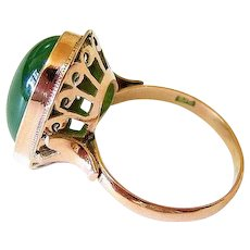 Antique Oval Cabochon Chrysoprase 10k Rose Gold Ring