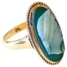 Antique Green Agate Hardstone 10k Rose Gold Cameo Ring