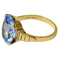 Art Deco Oval Faceted Blue Topaz 10k Yellow Gold Ring