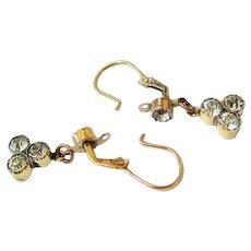Victorian 14k Yellow Gold Mine Cut Diamond Paste Trefoil Drop Earrings