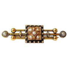Victorian 14k Yellow and Rose Gold Pearl Mourning Brooch Pin