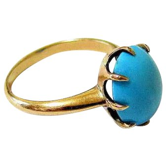 Antique Victorian 14k Rose Gold Oval Turquoise Ring