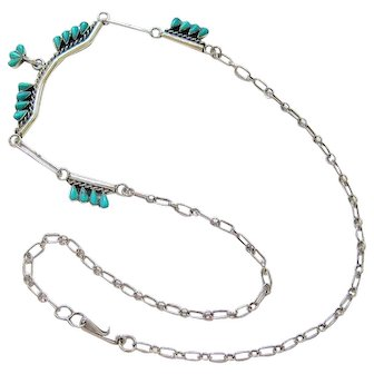 Zuni Sterling Silver Petit Point Turquoise Necklace