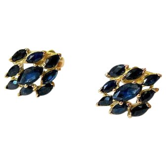 Marquise Sapphire 14k Yellow Gold Earrings