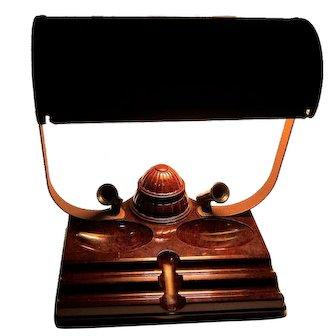 Art Deco Bakelite Metal Desk Caddy Table Lamp