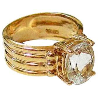 Clear Quartz Crystal 10k Yellow Gold Ring