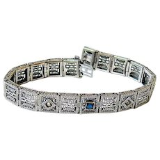 Art Deco Sterling Sapphire and Clear Crystal Filigree Bracelet Hallmarked