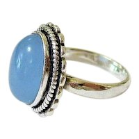 Vintage Chalcedony 800 Coin Silver Ring