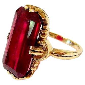 Late Edwardian 10K Yellow Gold Garnet Paste Ring Esemco