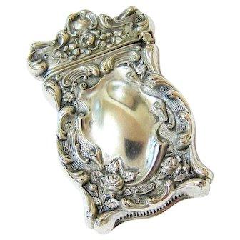Antique Art Nouveau Sterling Repousse Match Safe Vesta Case