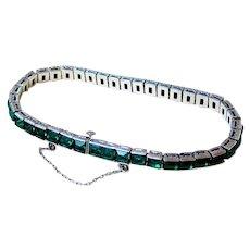 Art Deco Emerald Green Chaton Sterling Silver Bracelet