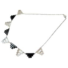 Art Deco Sterling Silver Step Cut Faceted Glass Necklace