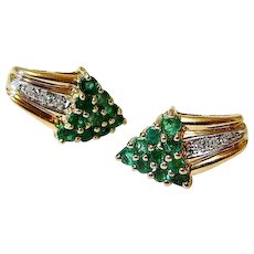 Emerald Diamond 14k Yellow Gold Earrings