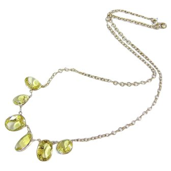 Edwardian Sterling Silver Faceted Citrine Necklace