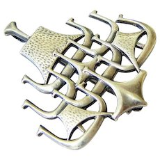 Rare Sterling Silver Viking Ships Brooch Pendant David Andersen Norway
