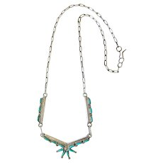 Sterling Silver Zuni Needle Point Turquoise Necklace Signed