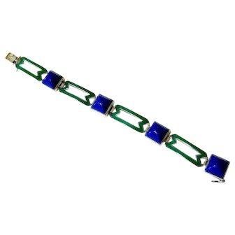 Art Deco Sugarloaf Lapis Glass Green Enamel Sterling Bracelet