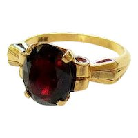 Art Deco Oval Faceted Garnet 14K Yellow Gold Ring