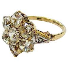 Edwardian Clear Quartz Crystal Rose Cut Diamond 10k Yellow Gold Ring