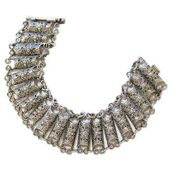 Antique Sterling Silver Filigree Pin Closure Bracelet