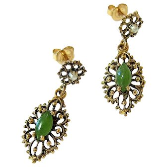 14K Nephrite Jade Seed Pearl Yellow Gold Dangle Drop Earrings