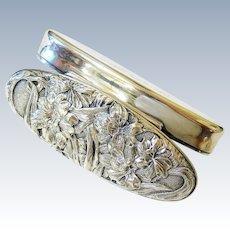 Art Nouveau Oval Floral Sterling Silver Trinket Keepsake Box