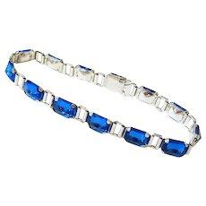 Art Deco Sterling Sapphire Paste Bracelet by George L Paine