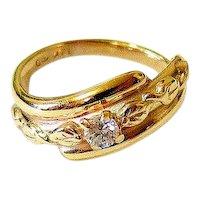 Art Deco Diamond 14K Yellow Gold Ring