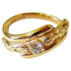 Art Deco Diamond 14K Yellow Gold Ring