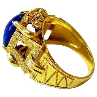 Modernist 18K Yellow Gold Ultramarine Blue Lapis Lazuli Ring