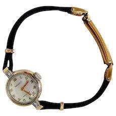Art Deco GRUEN Precision 14k Yellow Gold Diamond Watch Running Condition