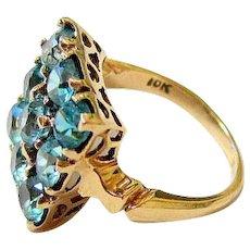 Rich Aqua Blue Round Cut Spinel 10k Yellow Gold Ring