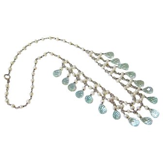 Art Deco Blue Topaz Seed Pearl Sterling Silver Drop Necklace