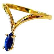 Lapis Lazuli 18K Yellow Gold Modernist Ring Italy