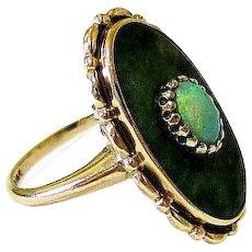 Edwardian Opal Hardstone 10k Yellow Gold Ring