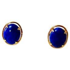 Oval Cabochon Lapis Lazuli 14k Yellow Gold Stud Earrings
