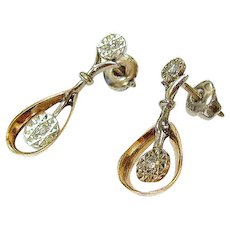 Vintage 14K Yellow White Gold Diamond Drop Earrings