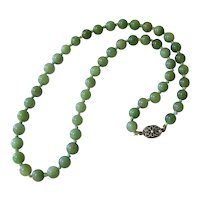 Vintage Asian Aventurine Sterling Silver Bead Necklace Knotted
