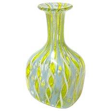 Venetian Latticinio Murano Glass Hand Blown Ribbon Twist Bud Vase