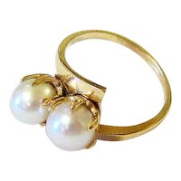 Double Salt Water Pearl 14K Yellow Gold Bypass Ring