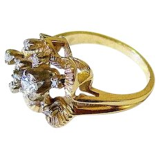 Mid Century Diamond 14K Yellow Gold Floral Cocktail Ring