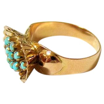 Art Deco 18K Yellow Gold Turquoise Ring